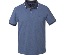 Polo-Shirt, Slim Fit, Baumwoll-Piqué, rauchblau meliert