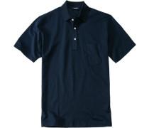 Polo-Shirt Polo Baumwoll-Piqué tiefseeblau