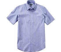 Herren Hemd Regular Fit Strukturgewebe marine-weiß gestreift blau