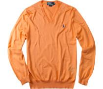 Herren V-Pullover Pima-Baumwolle orange