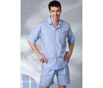 Herren Schlafanzug Pyjama Baumwolle hellblau-weiß kariert oder gestreift blau,weiß