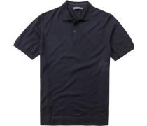 Herren Polo-Shirt Schurwollstrick schwarz