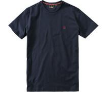 Herren T-Shirt Baumwolle navy blau