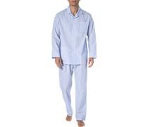 Schlafanzug Pyjama Baumwolle -weiß gestreift