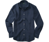 Hemd Leinen marineblau