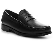 Herren Schuhe Slipper Leder schwarz