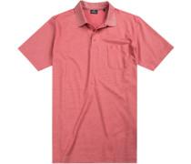Polo-Shirt Polo, Baumwoll-Jersey, lachs gestreift