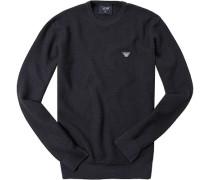 Pullover, Wolle, nachtblau meliert