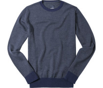 Pullover Schurwolle dunkelblau meliert