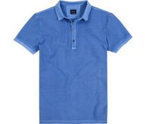 Polo-Shirt Polo Baumwoll-Piqué himmelblau meliert