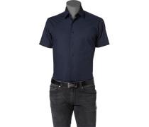 Herren Hemd Popeline-Stretch dunkelblau