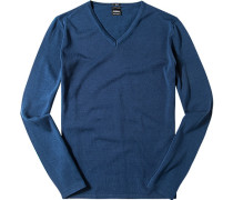 Pullover Slim Fit Baumwolle tintenblau