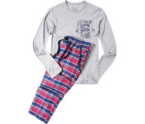 Schlafanzug Pyjama, Baumwolle, -royal kariert