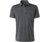 Herren Polo-Shirt Polo Baumwoll-Jersey anthrazit meliert grau