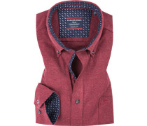 Hemd, Casual Fit, Flanell, bordeaux