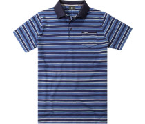 Polo-Shirt Baumwoll-Strick saphirblau gestreift