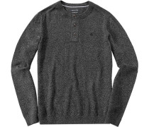 Pullover Lammwolle dunkelgrau meliert