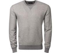 Pullover Kaschmir-Baumwolle hellgrau meliert