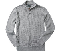 Pullover Troyer, Wolle, hellgrau meliert