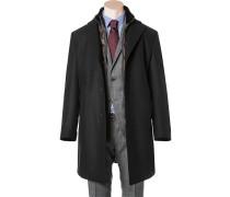 Herren Mantel Woll-Mix nachtblau blau,braun