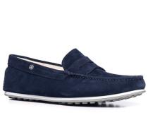 Schuhe Mokassins Veloursleder nachtblau