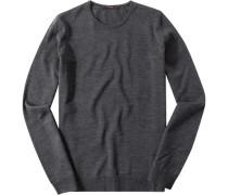 Pullover Merino extrafine mittelgrau meliert