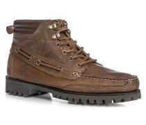 Schuhe Schnürstiefeletten Glattleder hellbraun