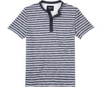 T-Shirt Baumwolle rauchblau-weiß gestreift