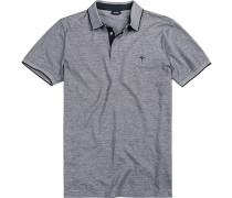 Polo-Shirt Baumwoll-Jersey -hellgrau gestreift