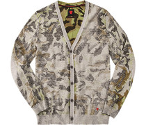 Herren strellson Sportswear Cardigan Roman-C Baumwolle camouflage grau,grün