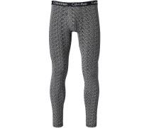 Herren Unterwäsche Lange Slip Baumwoll-Stretch schwarz-weiß gemustert
