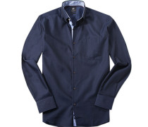 Hemd Modern Fit Baumwolle dunkelblau meliert