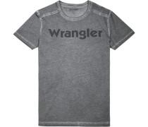 T-Shirt Slim Fit Baumwolle dunkelgrau meliert