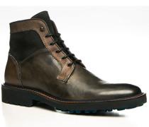 Schuhe Stiefeletten Leder nero-grigio