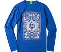 T-Shirt Longsleeve Modern Fit Baumwolle azurblau