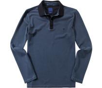 Polo-Shirt Polo Slim Fit Baumwoll-Piqué tintenblau