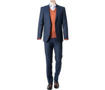 Herren Anzug Modern Fit Schurwolle Super 100´s marine blau