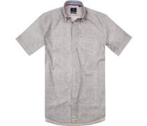 Hemd Modern Fit Popeline oliv-weiß gemustert