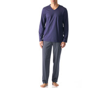 Herren Schlafanzug Pyjama Baumwolle blau-beige gemustert