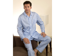 Schlafanzug Pyjama Baumwolle hellblau- kariert und gestreift