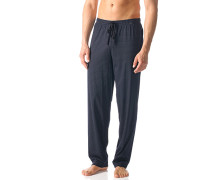 Herren Schlafanzug Pyjamahose Baumwolle dunkelblau gemustert