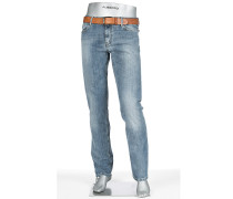 Jeans Pipe Regular Slim Fit Baumwoll-Stretch jeansblau