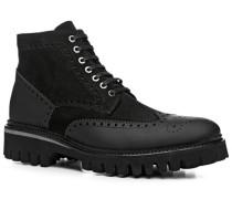 Herren Schuhe Stiefeletten Leder warm gefüttert schwarz schwarz,schwarz