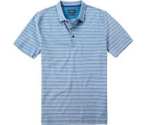 Polo-Shirt Baumwolle mercerisiert türkis gestreift
