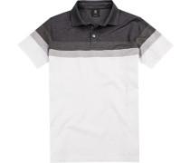 Polo-Shirt Polo Modern Fit Baumwoll-Jersey -weiß gemustert