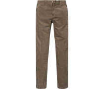 Herren Hose Cord-Chino Shaped Fit Baumwoll-Stretch taupe beige