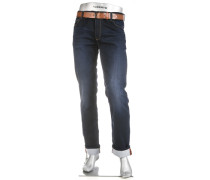 Herren Jeans Regular Slim Fit Baumwoll-Mix dunkelblau