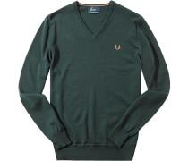 Pullover Merinowolle dunkelgrün