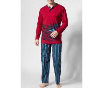 Herren Schlafanzug Pyjama Baumwolle rot-blau blau,rot