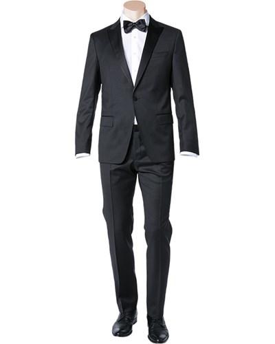 hugo boss herren herren anzug smoking regular fit schurwolle super100 schwarz reduziert. Black Bedroom Furniture Sets. Home Design Ideas